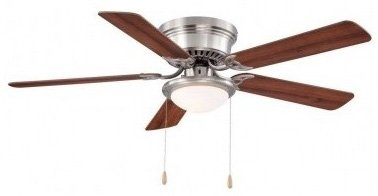 Hampton bay hugger 52 in brushed nickel ceiling fan by hampton bay