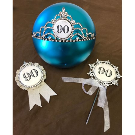 Happy 90th Birthday Cake Topper An Award And A Bling Tiara