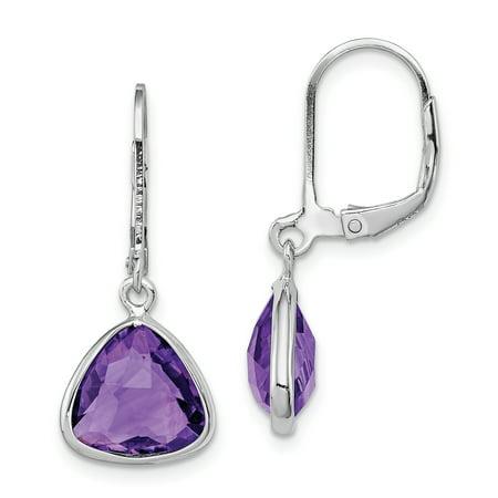 925 Sterling Silver Purple Amethyst Leverback Earrings Lever Back Drop Dangle