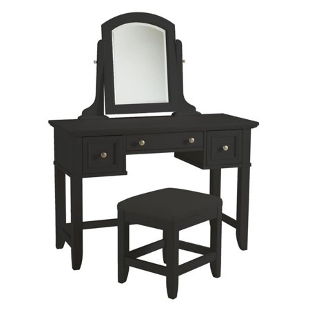 Home Styles Bedford Vanity Table, Mirror and Bench, Black - Walmart.com