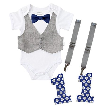 Noahs Boytique First Birthday Outfit Boy Bundle Set Cake Smash Party Bodysuit Suspenders Vest Bow Tie