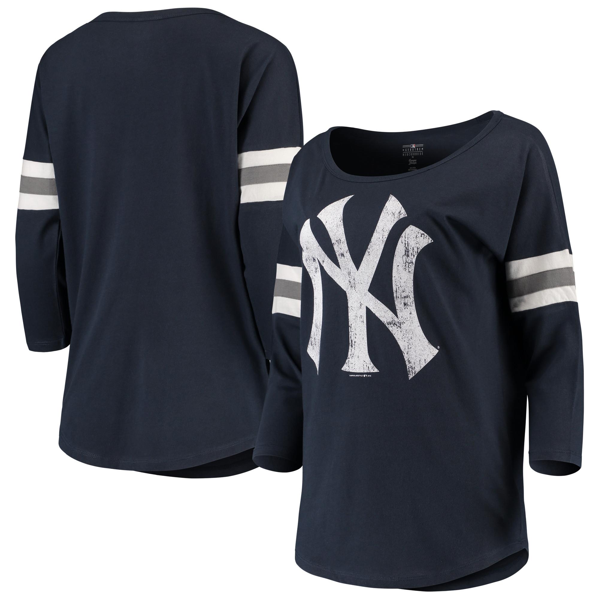 Women's New Era Navy New York Yankees Scoop Neck 3/4-Sleeve T-Shirt