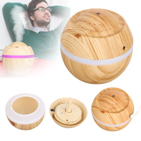 500ml Cool Mist Humidifier, EEEKit Wood Grain Ultrasonic Aromatherapy Diffuser Air Humidifier with 7 Color LED Mode Light for Office, Home Living Room,