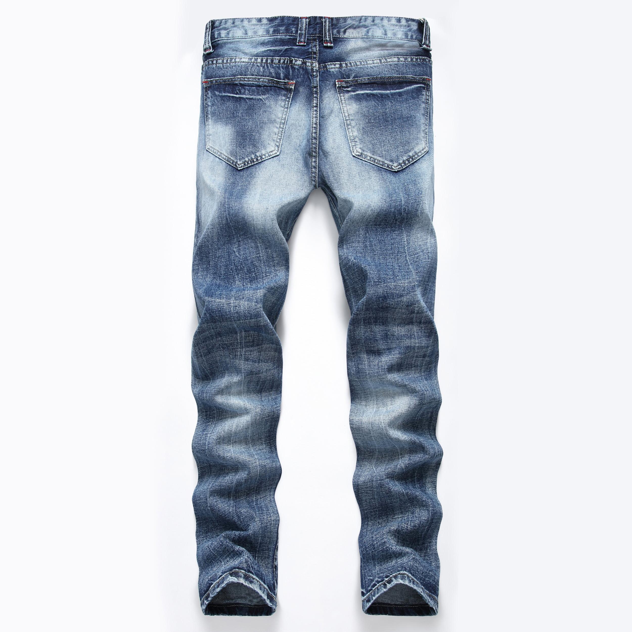 6fa0adda71 Men Plus Size Straight Jeans Male Distressed Denim Pants Biker Jeans Ro  Designer Bin Jeans for Men Religious Outfits - Walmart.com
