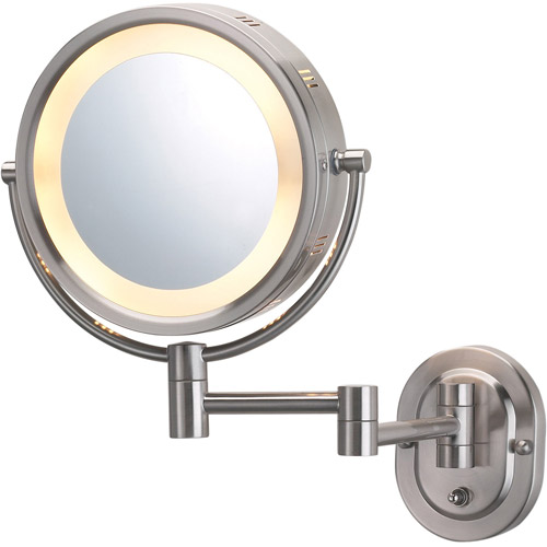 "Jerdon Hard-Wired 8"" 2-Sided Swivel Halo-Lighted Wall Mount Mirror with 5x Magnification, 14"" Extension, Matte Nickel"