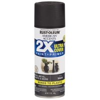 (3 Pack) Rust-Oleum American Accents Ultra Cover 2X Flat Black Spray Paint and Primer in 1, 12 oz