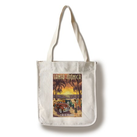 California Tote Bag (Santa Monica, California - Woodies & Sunset - Lantern Press Artwork (100% Cotton Tote Bag -)