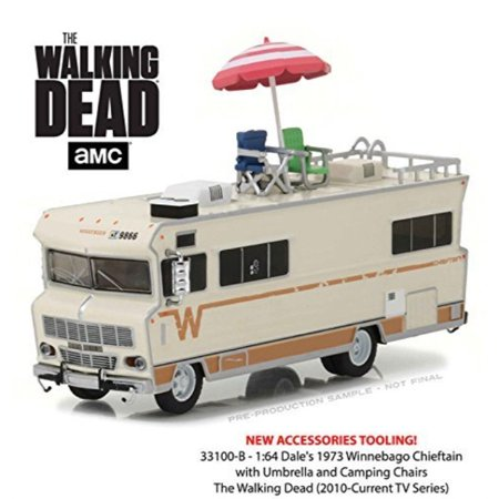 New 1:64 GREENLIGHT COLLECTION - H-D TRUCKS SERIES 10 - The Walking Dead - Beige 1973 Winnebago Chieftain with Accessories