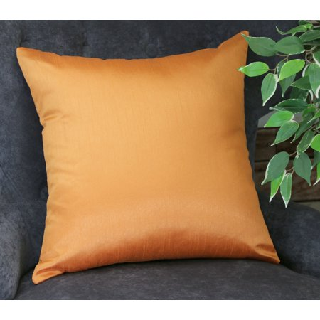 Aiking Home Solid Faux Silk Euro Sham / Pillow Cover 26 by 26 - Orange (Colorful Euro Sham Cover)
