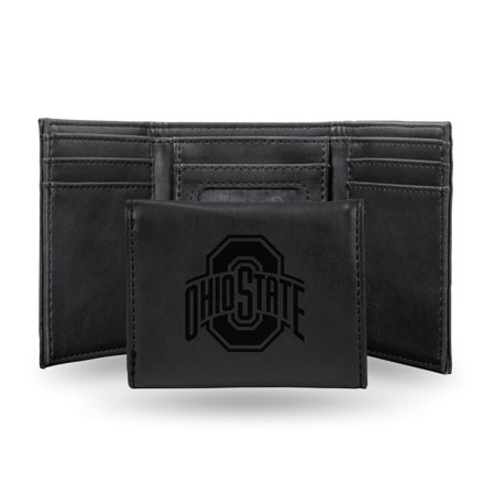 Ohio State Buckeyes NCAA Laser Engraved Black Synthetic Leather Trifold Wallet