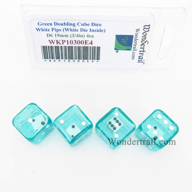 Green Doubling Cube Dice with White Pips D8 19mm (3/4in) (White Die Inside) Pack of 4 Wondertrail
