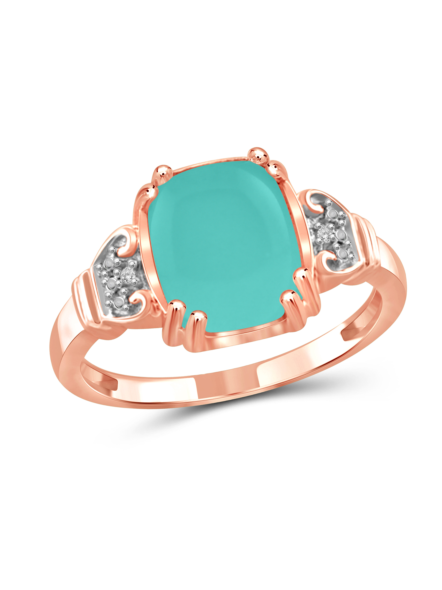 JewelersClub 2-3 4 Carat T.G.W. Chalcedony and White Diamond Accent Rose Gold over Silver Fashion Ring by JewelersClub