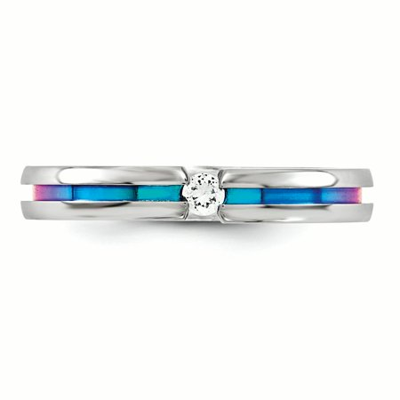 Edward Mirell Titanium White Sapphire Multicolored Anodized 4mm Band Size 12 - image 3 de 4
