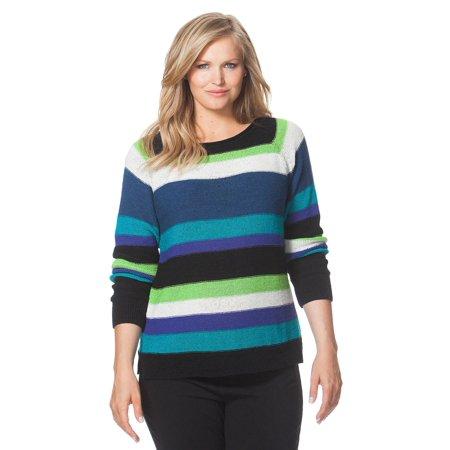 876b67583662d Chaps - Women s Plus Size Striped Boatneck Sweater - Walmart.com