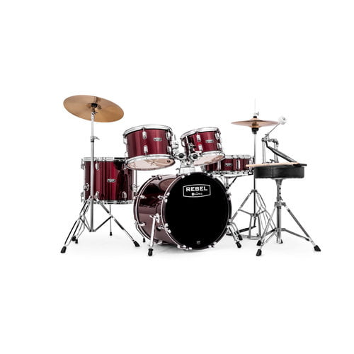 "Mapex RB5294FTCDR Rebel 5-Piece Drum Set with Hardware and Cymbals Dark Red with 22""... by Mapex"