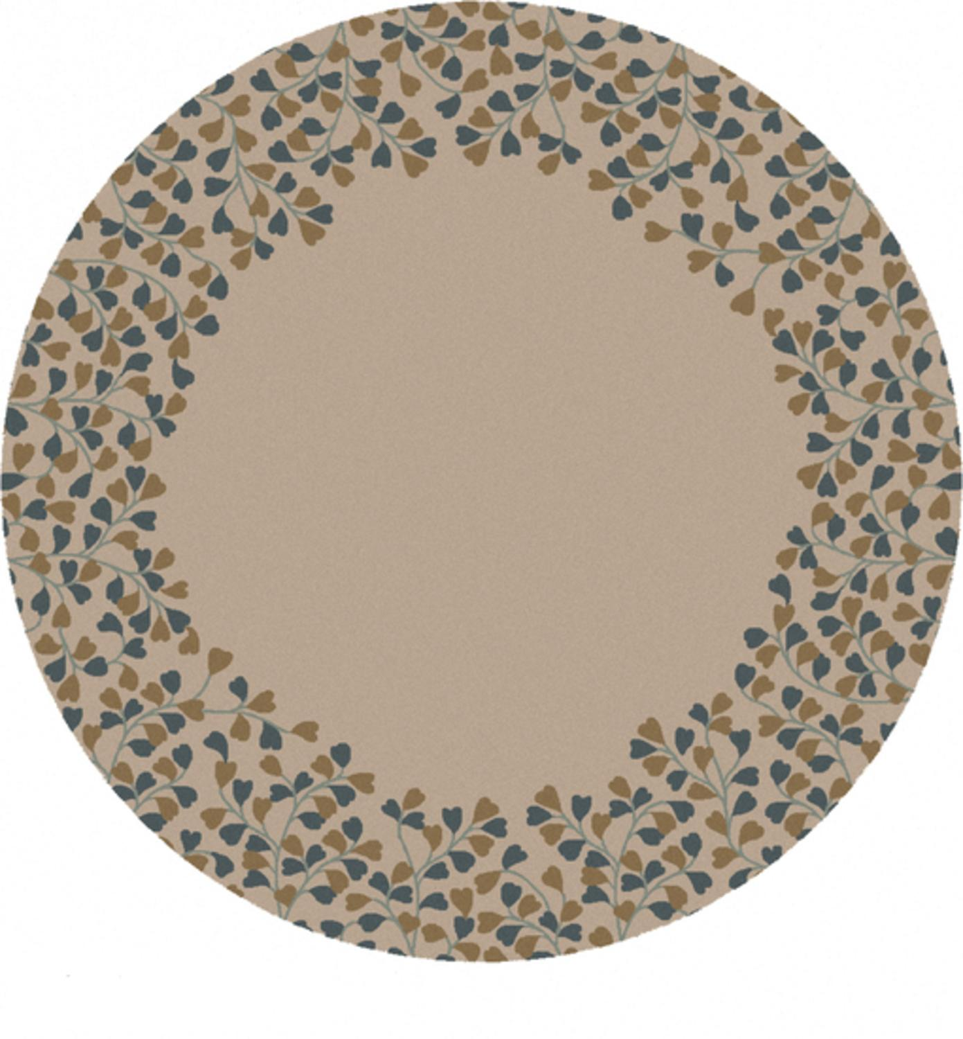 8' Acampe Brown and Wheat Round Hand Tufted Wool Area Throw Rug