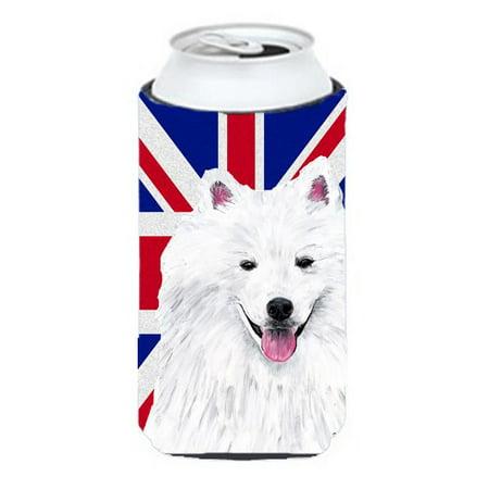 American Eskimo With English Union Jack British Flag Tall Boy bottle sleeve Hugger - 22 To 24 Oz.