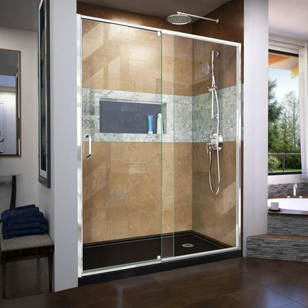DreamLine Flex 36 in. D x 60 in. W x 74 3/4 in. H Semi-Frameless Pivot Shower Door in Chrome with Right Drain Black Base Kit