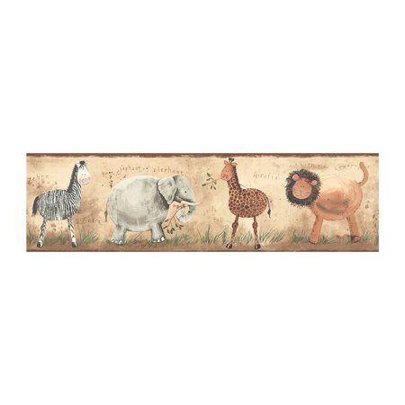 York Kids IV KZ4200B Safari Animals Border, Tan/Brown Band, Packaged and sold in single spools By York Wallcoverings
