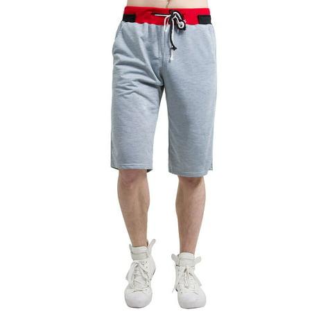 Unique Bargains Men's Drawstring Elastic Waistband Straight Leg Side Pockets Jersey Short