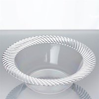 BalsaCircle 10 pcs Disposable Plastic Twirl Round Bowls for Wedding Reception Party Buffet Catering Tableware Creative Food Display
