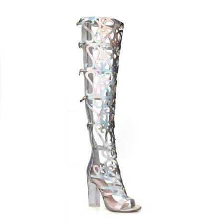 Fahrenheit Women's Cut Out Clear Heel Knee High Sandals (Clear Sandal)