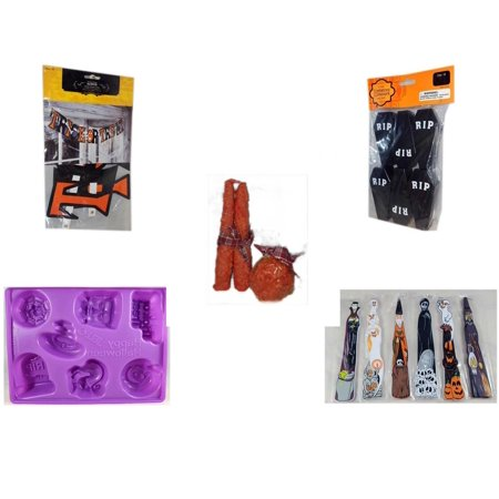 Halloween Fun Gift Bundle [5 Piece] - Trick or Treat Banner 42.5 x 5 Inches - Tombstone Containers Party Favors 6 Count - Autumn Orange-spice Candles Set of 3 - Happy  Jell-O Mold -  Wooden Craft St - Easy Halloween Crafts And Treats
