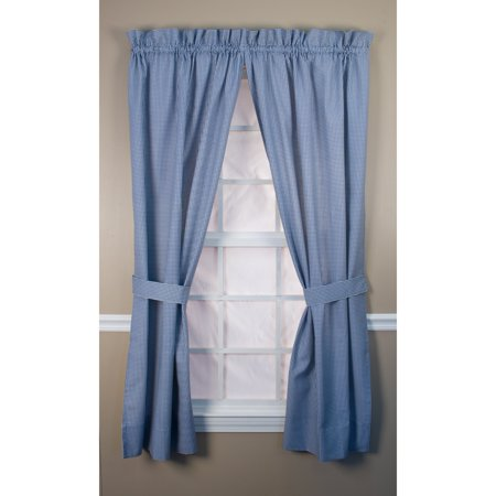 Ellis Curtain Logan Check Tailored Curtain Panel with Ties - One Pair