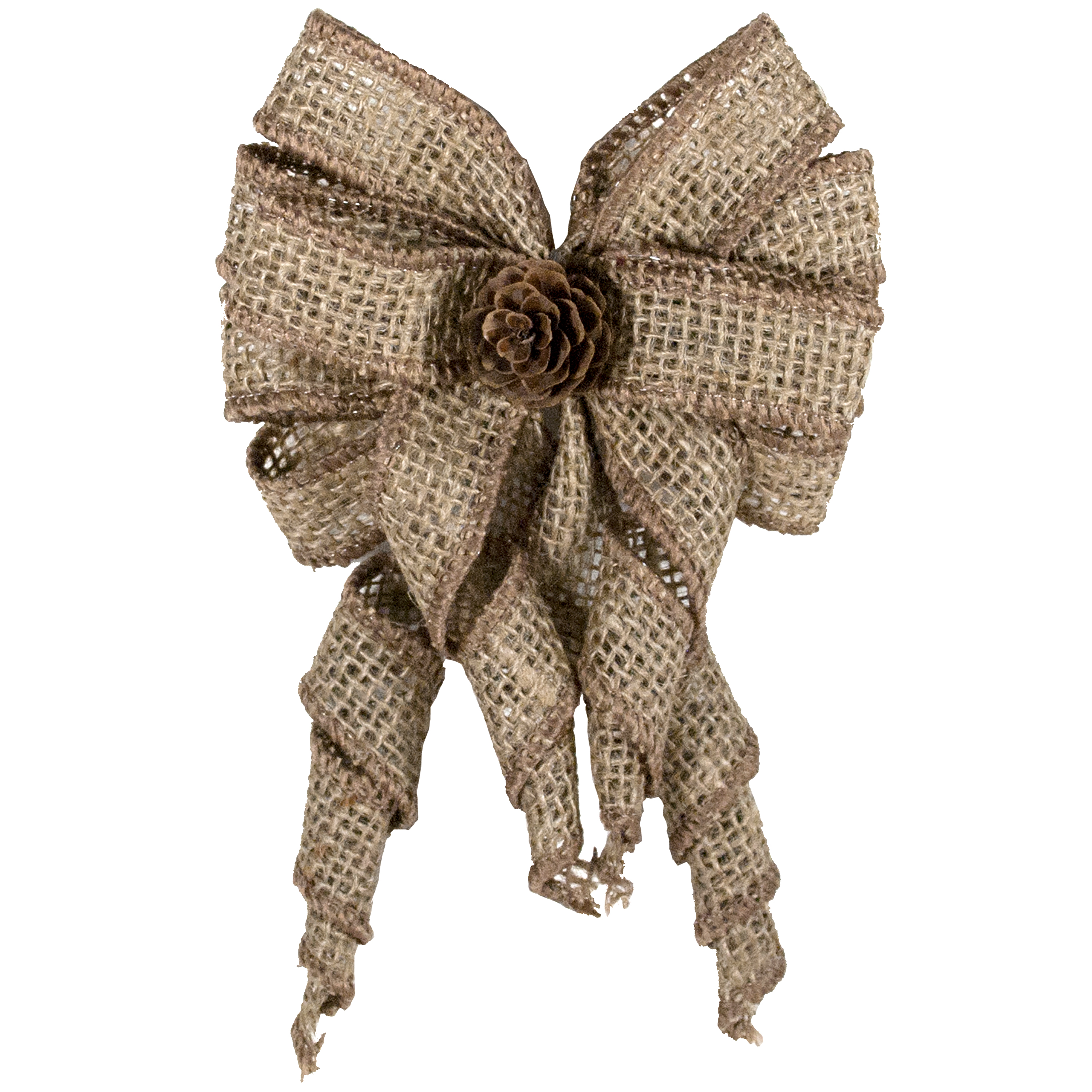 HOLIDAY TIME NATURAL BURLAP MINI TREE TOPPER BOW