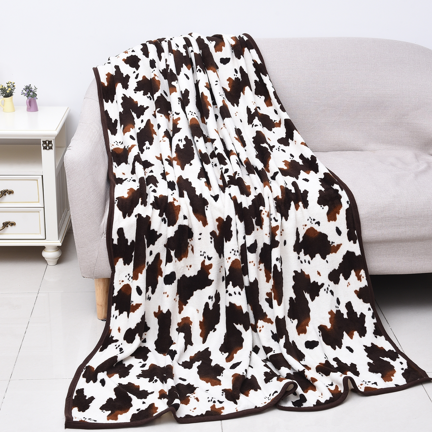 Home Smart Brown Cow Print Warm Cozy Coral Fleece Blanket Walmart Com Walmart Com