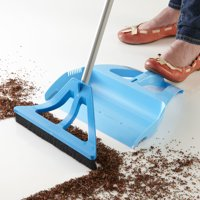 WISPsystem Best 90 Degree Angle One-Handed Broom with Dustpan and Telescoping Handle w/Bristle Seal Technology - Blue