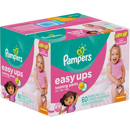 Pampers Easy Ups Girls Training Pants, Size 4T-5T, 60 Pants