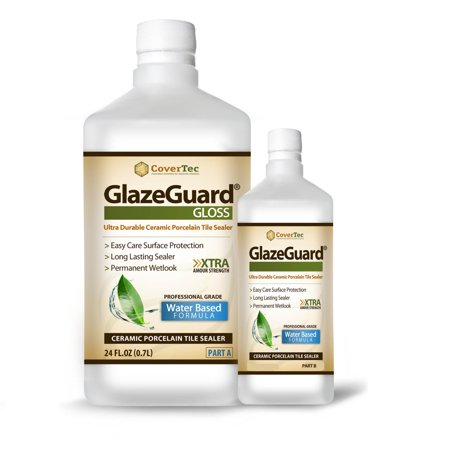 Surface Tile Sealer - GlazeGuard Gloss Floor / Wall Sealer for Ceramic, Porcelain, Stone Tile Surfaces (1 Qrt -Prof Grade (2) Part Kit)