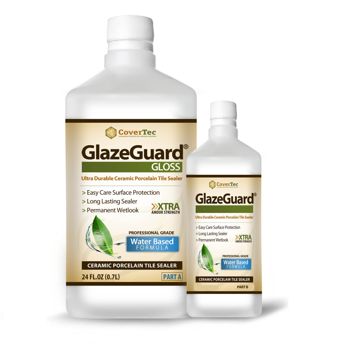GlazeGuard Gloss Floor / Wall Sealer for Ceramic, Porcelain, Stone Tile Surfaces (1 Qrt -Prof Grade (2) Part Kit)