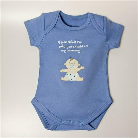 Little Ashkim BSCASMOMB69 Cute As Mommy Boy Bodysuit - Blue, 6-9 Months