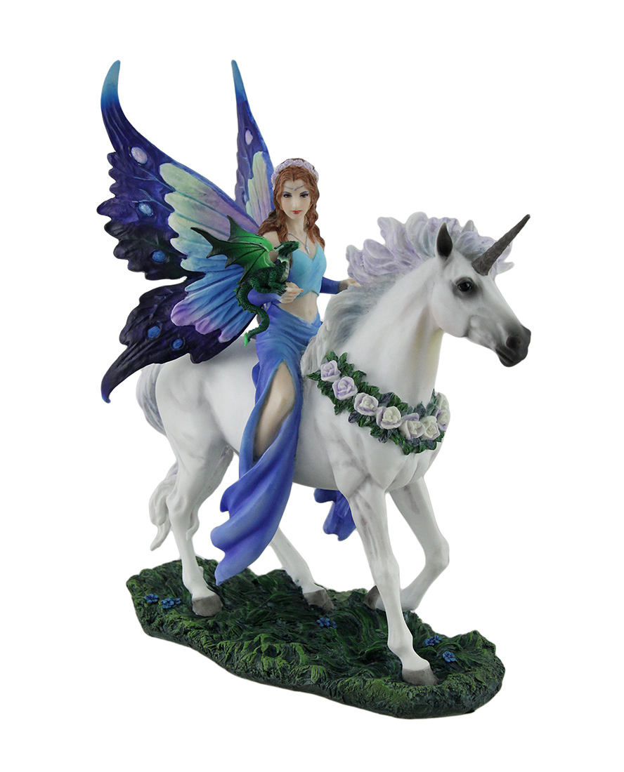 Anne Stokes Realm of Enchantment Blue Fairy Statue by Unicorn Studios