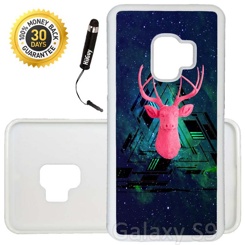 Custom Galaxy S9 Case (Pink Stag Head on Nebula) Edge-to-Edge Rubber White Cover Ultra Slim | Lightweight | Includes Stylus Pen by Innosub