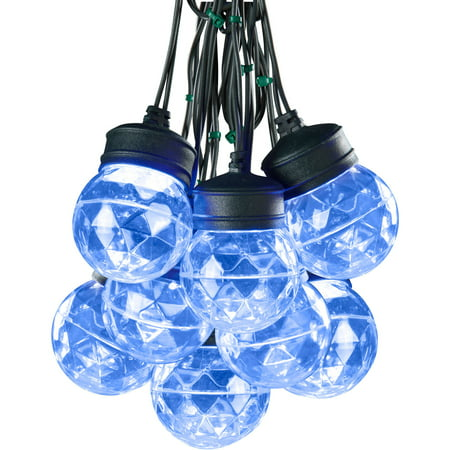 Lightshow Christmas Lights Projection Light String W Clips S 8 Round Icy Blue
