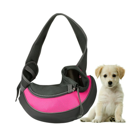 Pet Pouch (Pet Puppy Carrier Sling Hands-Free Shoulder Travel Bag. Great For Walking Your Pet. Dog Cat Pet Puppy Outdoor Reversible Pouch Mesh Shoulder Carry Bag Tote Handbag Carrier- (Pink/Small) )