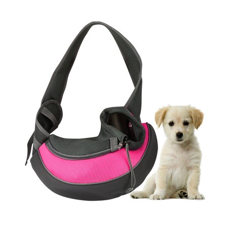 Pet Puppy Carrier Sling Hands-Free Shoulder Travel Bag. Great For Walking Your Pet. Dog Cat Pet Puppy Outdoor Reversible Pouch Mesh Shoulder Carry Bag Tote Handbag Carrier- (Pink/Small) (Sling Style Pet Carrier)
