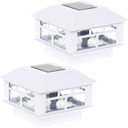 2 Pack GreenLighting White Outdoor Solar Powered Modern Design Post Cap Light 2 Light Outdoor Post
