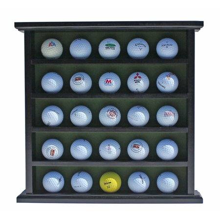 Golf Gifts-Gallery Golf Ball Display Cabinet, NO Door, GB25 (Black), Elegant golf ball cabinet for holding souvenir or trophy balls By DisplayGifts