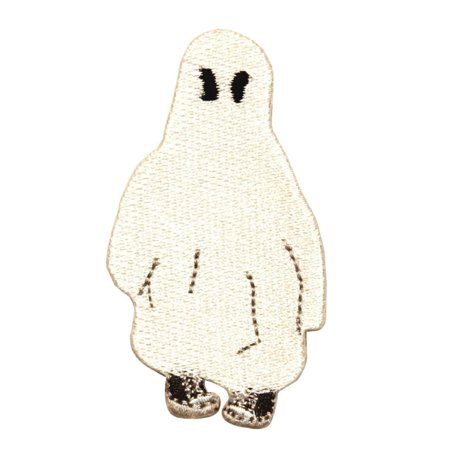 ID 0881 Kid in Ghost Costume Patch Halloween Spirit Embroidered Iron On Applique