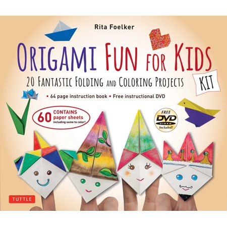 Origami Fun for Kids Kit : 20 Fantastic Folding and Coloring Projects: Kit with Origami Book, Fun & Easy Projects, 60 Origami Papers and Instructional DVD