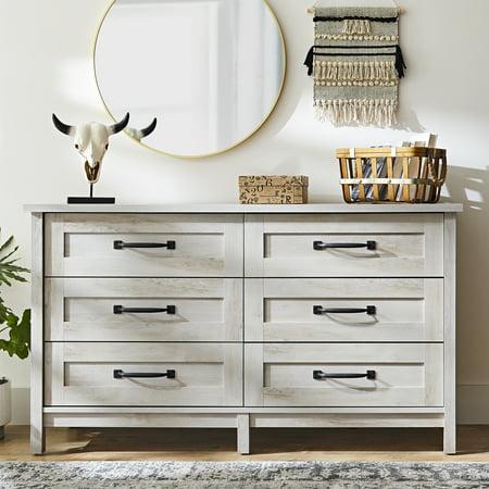 Better Homes & Gardens Modern Farmhouse 6-Drawer Dresser, Rustic White Finish ()