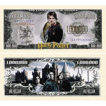 """5 Harry Potter Million Dollar Bill with Bonus """"Thanks a Million"""" Gift Card - Mad Potter Coupons"""