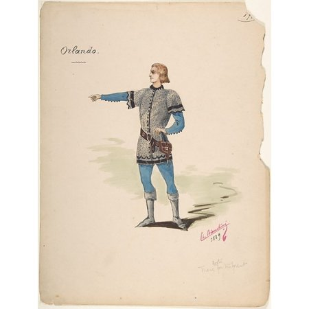 """Costume Design for Orlando Poster Print by Charles Bianchini (French Lyons 1860  """"1905 Paris) (18 x 24)"""