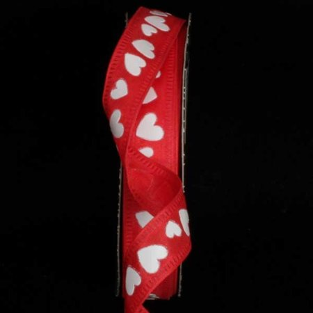 Red with White Foil Heart Print Wired Craft Ribbon .625