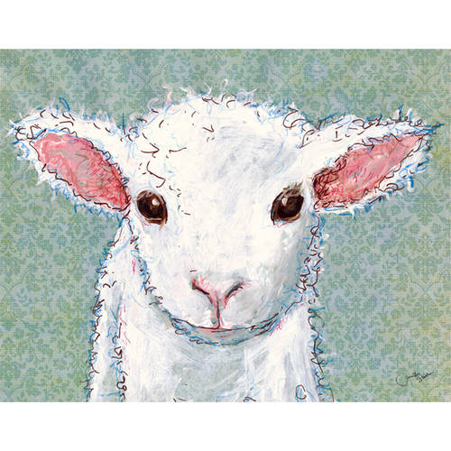 Oopsy Daisy's Little Lamb Baby Canvas Wall Art, 14x10