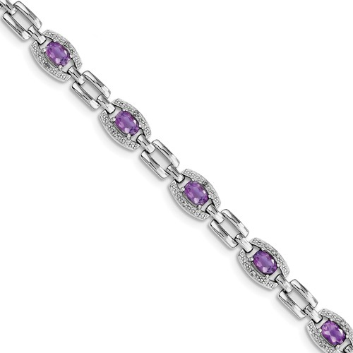Sterling Silver Diamond & Amethyst Bracelet. Carat Wt- 0.07ct. Gem Wt- 3.59ct by Jewelrypot